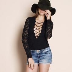 All Over Lace Lattice Bodysuit Long sleeve all over lace lattice front bodysuit. Available in ivory and black. This listing is for the BLACK. Brand new. True to size but a snug fit. Bare Anthology Tops Tees - Long Sleeve