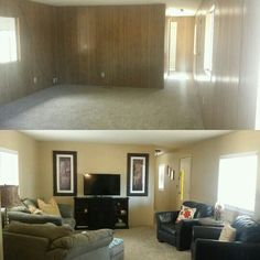Single wide mobile home. Don't be afraid to paint your wood paneling it gives the room a modern look, texture and comfort. Before and After of my Living Room.