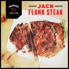 Flank Heaven.   JACK FLANK STEAK  1 ½ pounds flank steak (about ½ inch thick), 1 clove minced garlic, 2 tsp dry mustard, ¼ cup Jack Daniel's, 2 tbsp butter, salt and pepper to taste