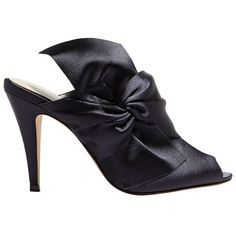 Karen Millen Oversized Bow Stiletto Mule Sandals (635 PLN) ❤ liked on Polyvore featuring shoes, sandals, navy, navy sandals, flat sandals, flat leather mules, flat slip on sandals and peep toe sandals