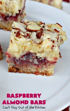 Raspberry Almond Bars – Can& Stay Out of the Kitchen Raspberry Bars, Raspberry Desserts, Just Desserts, Raspberry Scones, Almond Recipes, Baking Recipes, Cookie Recipes, Dessert Recipes, Holiday Baking