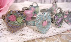 Victorian Hand Painted Rose Rings Vintage Style by TheVintageHeart