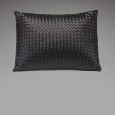 ::PRODUCT:: Beautiful woven leather cushion by Bottega Veneta Home.