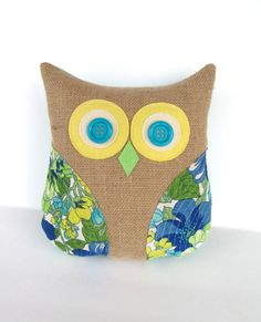 decorative owl pillow, burlap pillow, vintage up cycled, turquoise, aqua blue, green and yellow pillow, graduation gift, teachers gift via Etsy £22.91