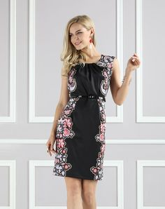 #VIPme Black Pleat-Neck Belted Sheath Dress - Plus Too ❤️ Get more outfit ideas and style inspiration from fashion designers at VIPme.com.