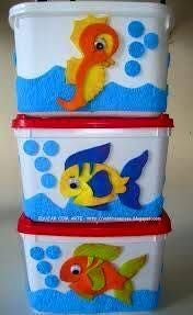 riciclo contenitori gelati 27 Cute Crafts, Crafts To Sell, Diy And Crafts, Crafts For Kids, Arts And Crafts, Preschool Songs, Under The Sea Party, Classroom Decor, Preschool Activities