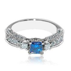 Vintage Princess Cut Blue and White Diamond Engagement Ring