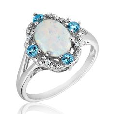Sterling Silver Created Opal Blue Topaz and Diamond Ring