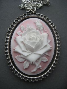 Cameo Necklace - White Rose