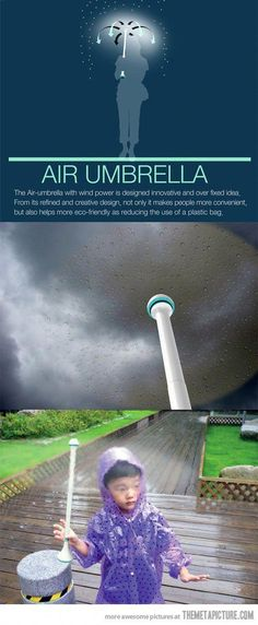 Air Umbrella… OMG this is awesome! But is this even real? What happens if … - Techno Gadgets High Tech Gadgets, Gadgets And Gizmos, Techno Gadgets, Top Gadgets, Camping Gadgets, Cool Technology, Technology Gadgets, Engineering Technology, Gadgets Techniques