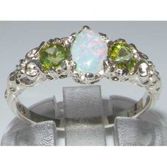 Ladies Solid Sterling Silver Natural Opal & Peridot English Victorian Trilogy Ring - Size 8 - Finger Sizes 5 to 12 Available