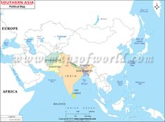 South Asia Map shows international boundary of the South Asian nations.