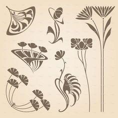 Illustration of Vector set of vintage art nouveau design elements. vector art, clipart and stock vectors. Art Nouveau Tattoo, Mucha Art Nouveau, Motifs Art Nouveau, Azulejos Art Nouveau, Design Art Nouveau, Motif Art Deco, Art Nouveau Pattern, Art Design, Pattern Art