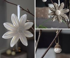 Décoration de table style scandinave : fleurs à suspendre couleurs blanches et beige. Idéales pour un centre de table épuré, naturel, simple et chic !
