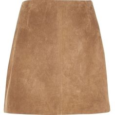 River Island Brown suede mini skirt featuring polyvore, women's fashion, clothing, skirts, mini skirts, brown, brown skirt, suede skirt, tall skirts, short brown skirt and beige skirt