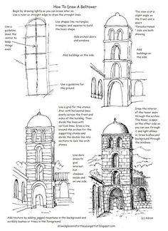 This free printable how to draw worksheet is helpful to draw a tower in a courtyard or village scene. It can be nice as a line drawing as illustrated or as a colorful project. I designed this as a tak