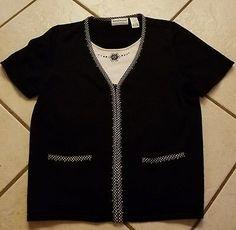 a0160cc98fa Womens size petite XL Alfred Dunner shirt layer black zipper sweater flower  top