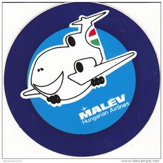 Label : Label MALEV [Hungarian Airlines] Jet airplane , 1960-80s