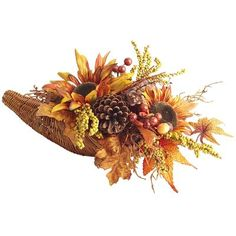Fall Cornucopia Floral Arrangement   - This would make a gorgeous centerpiece on my dining table for Thanksgiving.