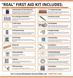 first aid The best first aid kit. The real life-saving first aid kit. When shopping for a first aid kit. Make sure it can support CPR (barrier mask), stop severe bleeding and treat shock. Emergency Preparedness Kit, Survival Prepping, Survival Skills, Survival Gear, Survival Quotes, Survival Hacks, Survival Shelter, Car Survival Kits, Home Emergency Kit