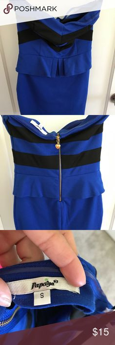 Blue and black strapless mini dress from Papaya Blue and black strapless mini dress from Papaya size small Papaya Dresses Strapless