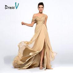 Dressv Cheap Champagne Evening Dresses 2017 Draped One Shoulder Long  Chiffon Prom Dresses Robe de Soiree 4d88f07c3b2a