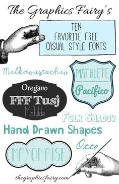 Free Casual Style Fonts - by Emily for The Graphics Fairy!