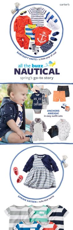 Nautical: a classic spring story. Babysoft knit sleep & play, easy outfit sets, bodysuits and little extras are perfect for a spring baby! Plus, check out nautical Easter or spring party looks in our easter shop.