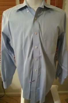 Brooks Brothers Men's Light Blue Checked Long Sleeve Dress Shirt (15-32) #BrooksBrothers #FlatFront