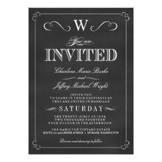 "Chalkboard Fancy Monogram Wedding Invitations 5"" X 7"" Invitation Card"