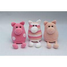 Crochet Pig, Cute Crochet, Crochet Animals, Crochet Dolls, Crochet Toys Patterns, Amigurumi Patterns, Stuffed Toys Patterns, Knitting Patterns, Knitting For Kids