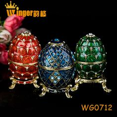 Noticing! Beautiful Faberge Eggs Trinket Box Souvenir Figurine Home Decoration Holiday Easter Egg Metal Crafts