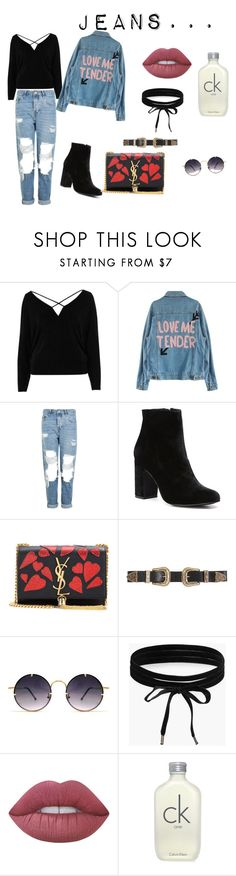 """#jeans#oversize.jeans.jacket/7"" by juliefashionz on Polyvore featuring moda, River Island, Topshop, Witchery, Yves Saint Laurent, B-Low the Belt, Spitfire, Boohoo, Lime Crime i Calvin Klein"