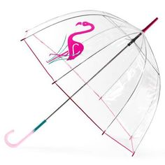 Flamingo print PVC clear dome umbrella by Totes