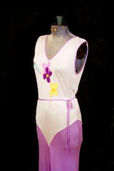 1930's Beach Pajamas // Rare Rayon Jersey 1930's Lounge or Beach PJ Pantsuit