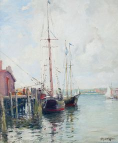 """""""East Gloucester Docks,"""" Guy Carleton Wiggins, oil on canvas, 24 x 20"""", private collection."""