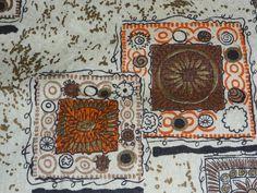Vtg Mid Century Gold Orange Medallion Scallop Top Curtains Fabric Textured