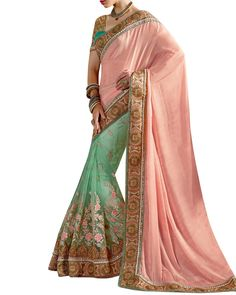Bring In Some Ethnic Collection To Your Closet By Choosing This Half And Half Style Saree From The House Of Simaaya Fashions. Fashioned With Super Quality Faux Chiffon And Net Fabric.  Get this at - http://www.simaayafashions.com/half-half-faux-chiffon-saree-in-peach-mahom4405  #designersaree #simaayacollections #onlineshopping