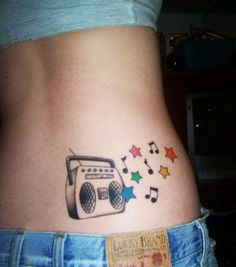 Music Note Tattoos For Girls | 19. Stars and Music Tattoo for Girls Lower Back