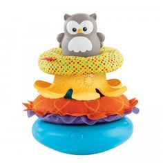Two soft rattle rings, one teether ring, and a plastic round owl all make this a great learning toy for baby.