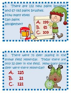 This 24 question word problem activity can be used whole group as a travel game, in a math center, or with partners. Christmas Activities For School, Christmas Math, Xmas, Fourth Grade Math, Second Grade Math, Grade 2, Math Resources, Math Activities, Math Task Cards
