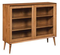 Amish South Shore Mid Century Modern Glass Bookcase A modern marvel for office. Built in choice of wood and stain. Amish made in America. #midcenturymodernfurniture