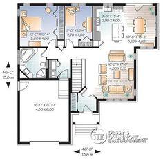 Rez-de-chaussée Plain pied de style Craftsman, 2 chambres, salle en manger solarium, sous-sol aménageable - Sylvestre