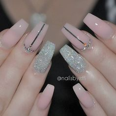 Pink and Shine Nails, with rhinestones and tape #manicure #aff