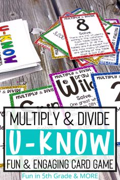 Multiply and dividing whole numbers is an important math skill in upper elementary! This UNO like review game will have your students WANT to review math skills. This review game is perfect for math centers, stations, early finishers, or small group. This math activity can even be used during indoor recess! Free Math Games, Math Card Games, Literacy Games, Teaching Activities, Teaching Resources, Word Work Centers, Math Centers, Math Skills, Math Lessons