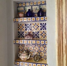 Kitchen shelves with tiles