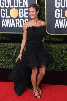 Heidi Klum attends the Annual Golden Globe Awards, Arrivals, Los Angeles, USA – Jan 2018 (REX/Shutterstock) Golden Globe Award, Golden Globes, Nice Dresses, Formal Dresses, Hollywood Life, Heidi Klum, Red Carpet Fashion, Wearing Black, Fashion Pictures