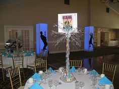 Rock and Roll Theme Bar Mitzvah Centerpiece