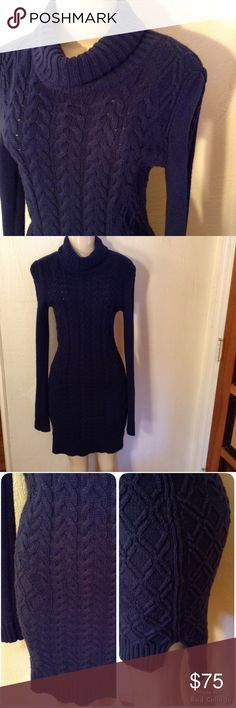 "BCBG Maxazria Sweater Dress Gorgeous blue sweater dress.  Thick cable sweater, loose turtle neck, hi-low design, perfect with your boots!  NWT, Size XS, Measures 18"" bust, 16"" waist, 18"" hips, 44"" length in back, 40"" length in front.    Please use offer to negotiate, no holds and no trades.  I love bundles❤️! BCBGMaxAzria Dresses"