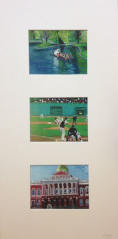 Boston Triptych - Five 10% of sales go to the One Fund Swan Boats Fenway Park State House
